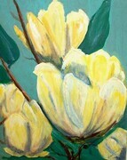 YELLOW MAGNOLIAS IN THE SPRING